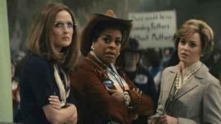 Mrs. America cast: rosie byrne, niecey nash, and elizabeth banks