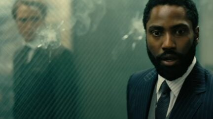 trailer screenshot of john david washington in tenet. Warner Brothers.