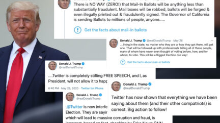 Donald Trump's tweets superimposed on an image of him smirking.
