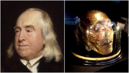 portrait of jeremy bentham alongside a picture of his mummified head