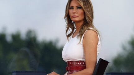 WASHINGTON, DC - JULY 04: First Lady Melania Trump attends an event on the South Lawn of the White House on July 04, 2020 in Washington, DC. President Trump is hosting a