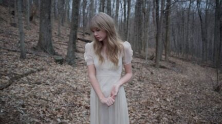 taylor swift looks sad in a forest