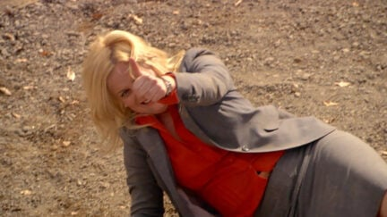 Leslie Knope falling in the Pit