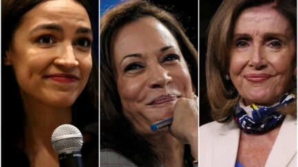 Composite of AOC, Kamala Harris, Nancy Pelosi giving tight-lipped smiles.