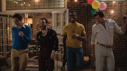 THE BOYS IN THE BAND (2020) Jim Parsons as Michael, Robin De Jesus as Emory, Michael Benjamin Washington as Bernard and Andrew Rannells as Larry. Cr. Scott Everett White/NETFLIX ©2020