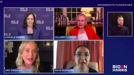 Amy Poehler and Maya Rudolph interview Kamala Harris and Hillary Clinton