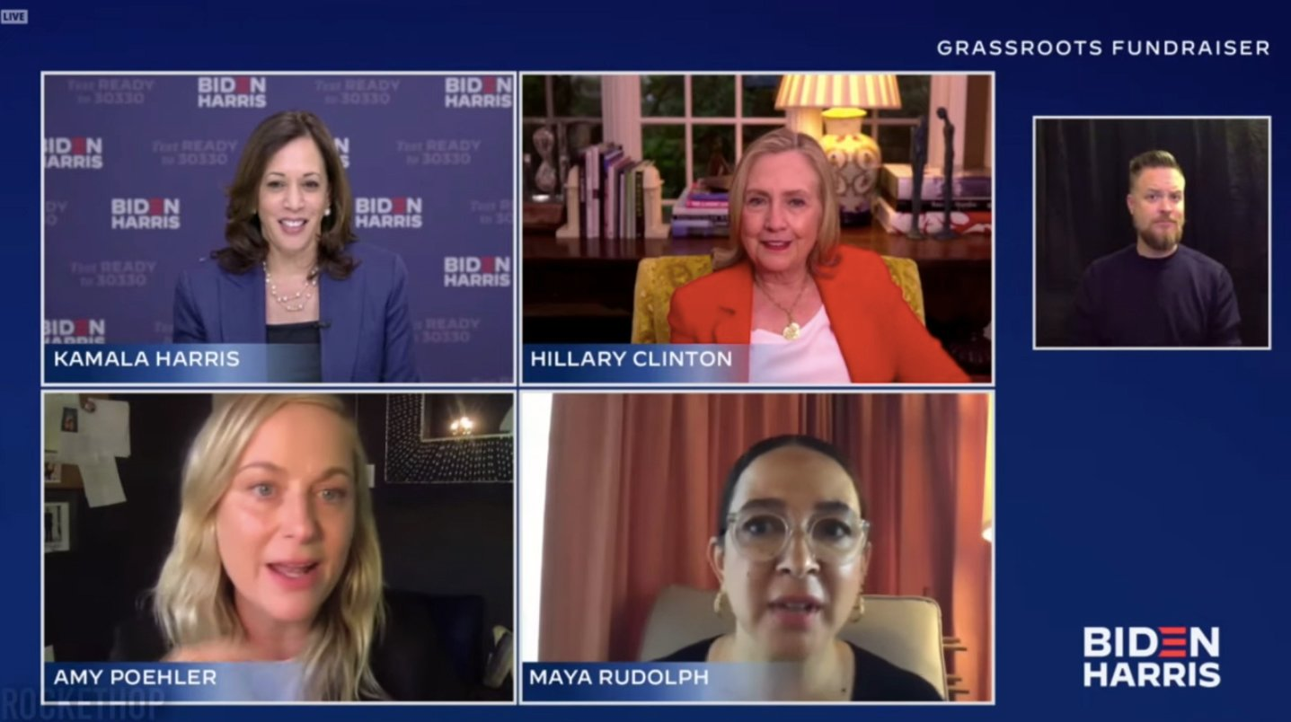 Kamala Harris and Hillary Clinton Meet Their Doppelgängers in a Zoom Fundraiser Chat With Amy Poehler and Maya Rudolph!