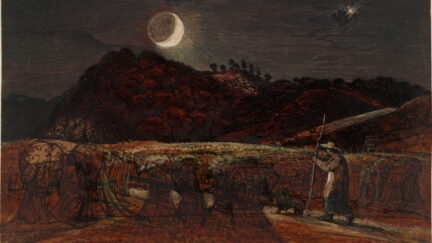 painting of a cornfield by moonlight