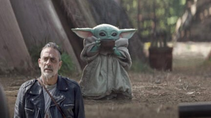 The walking dead's negan and baby yoda