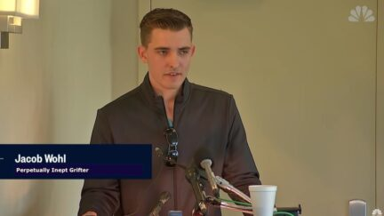 Jacob Wohl speaks at a press conference.