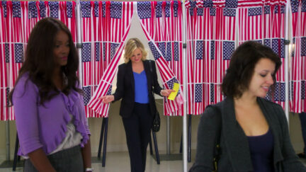 Leslie Knope voting in Parks and Recreation