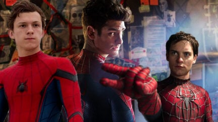 Andrew Garfield, Tom Holland, and Tobey Maguire all together as Spider-Man