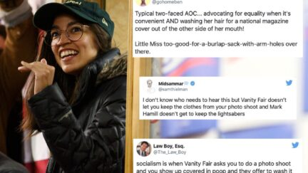 Tweets sarcastically mocking those criticizing Alexandria Ocasio-Cortez overlaid over a picture of the congresswoman in a baseball cap.
