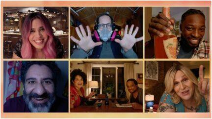 Pictured in this screen grab: (top row l-r) Otmara Marrero as Annie, Ely Henry as Rufus, Preacher Lawson as Ben; (bottom row l-r) Parvesh Cheena as Pradeep, Jill Knox as Michelle, Keith Powell as Garret, Shakina Nayfack as Ellis