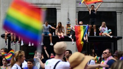 LONDON, ENGLAND - JULY 06: Parade goers during Pride in London 2019 on July 06, 2019 in London, England. (Photo by Chris J Ratcliffe/Getty Images for Pride in London)
