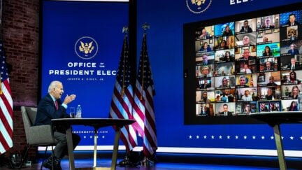 US President-elect Joe Biden participates in a virtual meeting with the United States Conference of Mayors at the Queen in Wilmington, Delaware, on November 23, 2020. - US President-elect Joe Biden on Monday named the deeply experienced Antony Blinken for secretary of state, also nominating the first female head of intelligence and a czar for climate issues, with a promise to a return to expertise after the turbulent years of Donald Trump. (Photo by CHANDAN KHANNA / AFP) (Photo by CHANDAN KHANNA/AFP via Getty Images)