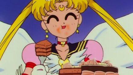 Sailor Moon eats cake
