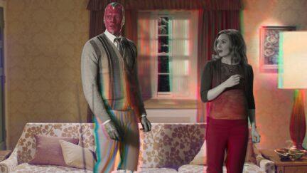 Paul Bettany and Elizabeth Olsen in Marvel and Disney+'s WandaVision