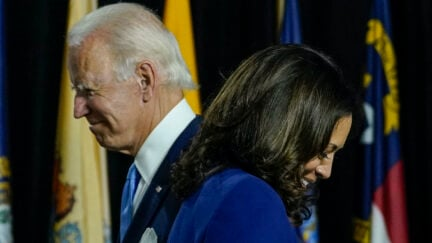 Joe Biden invites his running mate Sen. Kamala Harris (D-CA) to the stage to deliver remarks