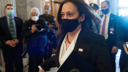 US Vice President-elect and Senator (D-CA) Kamala Harris arrives for a vote on the Senate floor of the US Capitol