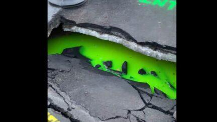 green ooze in a sink hole