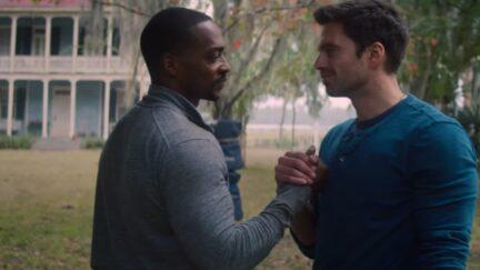 Sam and Bucky handshake