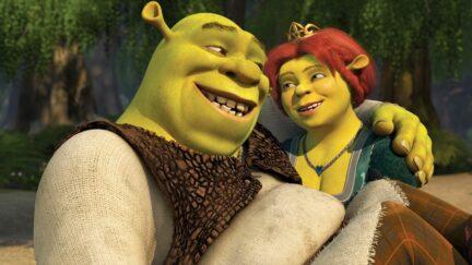 Shrek and Fiona embrace in Shrek.