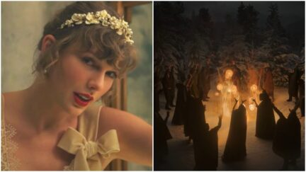 collage of taylor swift and a coven of witches in the video for willow