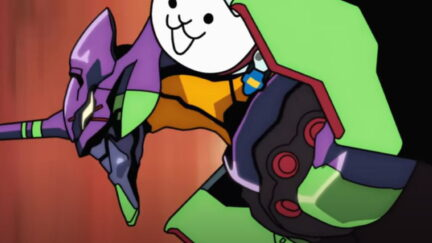 Screenshot from the Battle Cats collaboration with Evangelion