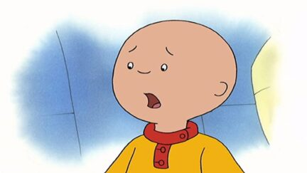 evil little bald child caillou whines