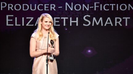 BEVERLY HILLS, CA - MAY 22: Honoree Elizabeth Smart speaks onstage at the 43rd Annual Gracie Awards at the Beverly Wilshire Four Seasons Hotel on May 22, 2018 in Beverly Hills, California. (Photo by Frazer Harrison/Getty Images)