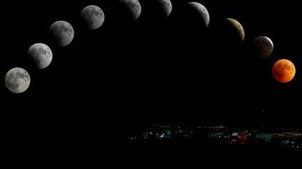 the moon in different phases time lapse