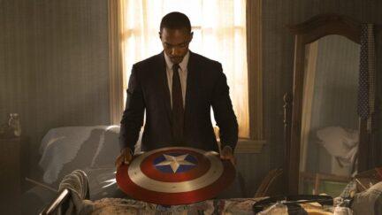 Sam Wilson holding Captain America's shield