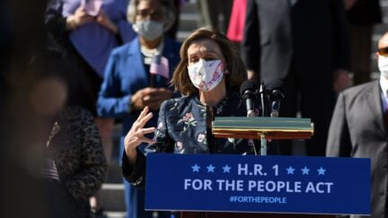 Speaker of the House Nancy Pelosi, Democrat of California, speaks at an event on the steps of the US Capitol for the