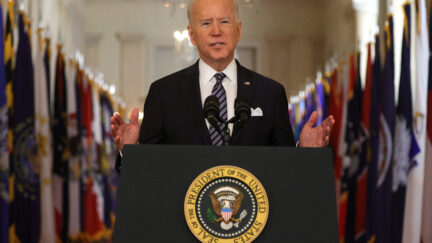 WASHINGTON, DC - MARCH 11: U.S. President Joe Biden speaks as he gives a primetime address to the nation from the East Room of the White House March 11, 2021 in Washington, DC. President Biden gave the address to mark the one-year anniversary of the shutdown due to the COVID-19 pandemic. (Photo by Alex Wong/Getty Images)