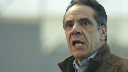 New York Gov. Andrew Cuomo speaks at a vaccination site