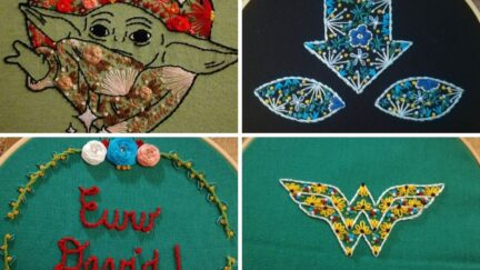 Embroidery examples of Grogu, Aang's avatar state, Wonder Woman's shield,