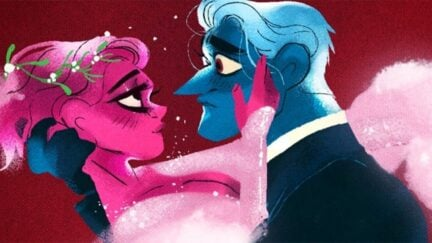 Lore Olympus Persephone and Hades embrace and gaze into each other's eyes.