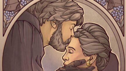 Star Wars art by Karen Hallion of Luke kissing Leia's forehead.