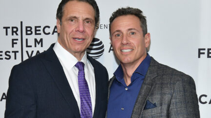 Andrew Cuomo and Chris Cuomo stand together on the red carpet for the Tribeca Film Festival