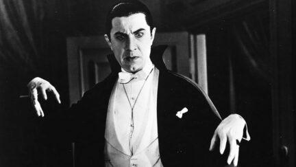 Actor Bela Lugosi lurks as Count Dracula in the movie Dracula