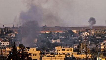 Smoke rises after Israeli air strikes on Rafah, in the southern Gaza Strip, on May 17, 2021