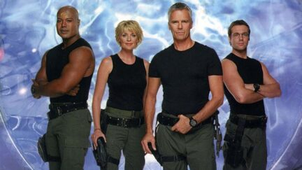 Richard Dean Anderson as Jack O'Neill, Amanda Tapping as Samantha Carter, Christopher Judge as Teal'c, and Michael Shanks as Daniel Jackson