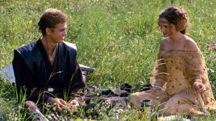 Anakin and Padme in a field