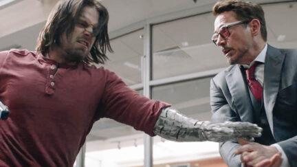 Bucky Barnes and Tony Stark in Civil War