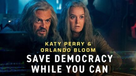 Katy Perry and Orlando Bloom in Save Democracy While You Can commerical.