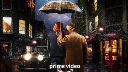David Tennant as Crowley and Michael Sheen as Aziraphale in the poster for Good Omens 2 anouncement