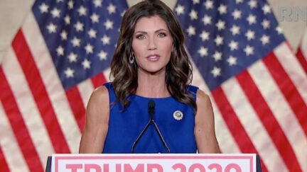 In a screenshot from the RNC's livestream of the 2020 Republican National Convention, South Dakota Gov. Kristi Noem addresses the virtual convention