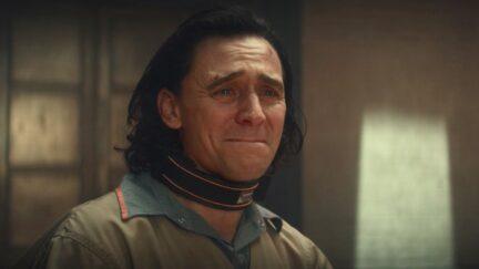 Tom Hiddleston as Loki cries in the Loki Disney+ series