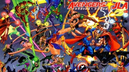 The Avengers fighting the Justice League on Avengers/JLA comic book cover.